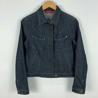 Portmans Womens Denim Jacket 10 Blue Long Sleeve Zip Closure Collared