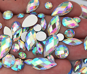50X Sparkly Crystal AB Flat Back Loose Rhinestone Gem jewel diamond assorted Mix