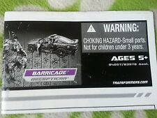 Transformers HUMAN ALLIANCE BARRICADE INSTRUCTION BOOKLET ONLY