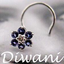Real Iolite & Diamond Flower 14kGold Wedding Nose Piercing Jewelry Pin Ring Stud