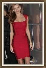 New Stunning Sexy Genuine Bandage Dress Red Square Collar Size 12-14