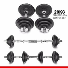 20kg Dumbbell Set Free Weights Cast Iron Plates Fitness Biceps Gym Home Workout
