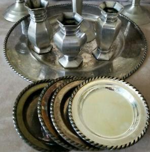 Lot Of Pottery Barn Pewter/Silver Decor-Tray-Coasters-Vases-Rare