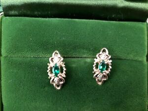 "Vintage 10k Yellow Gold Green Emerald Post Earrings 2.6 Grams 3/8"" Long"