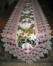 "Lacy Tulip Easter & Spring Decor Table Runner Embroidered Cutwork Organza 68""x13"