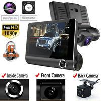 4'' HD 1080P 3 Lens Car DVR Dash.Cam Vehicle Video Recorder Rearview Camera XBYF