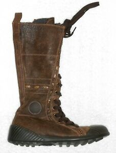 PATAUGAS bottes plates zip + laçage cuir marron P 36 TBE
