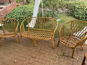 Vintage Cane Bamboo Set Sofa & 2 Chairs with Cushions