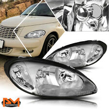 For 01-05 Chrysler PT Cruiser Headlight Replacement Chrome Housing Clear Corner