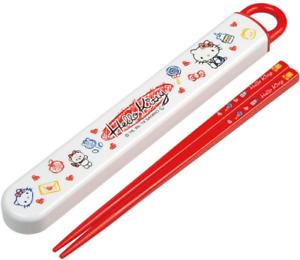 JAPAN Sanrio Hello Kitty Red White Chopsticks + Chopstick Box Case Set Skater
