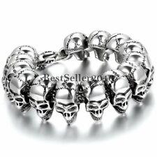 Mens Large Heavy Goth Skull Biker Stainless Steel Celtic Cross Clasp Bracelet