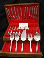 83 Pc Silverplated Deep Silver Inlaid Holmes & Edwards Woodsong 12 Place+Chest
