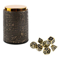 7 Set Metal Polyhedral Dice for  DND +Dice Cup Black #3