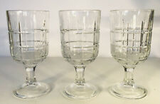 3 Anchor Hocking Tartan Plaid goblets Footed Tumblers IceTea Water Glasses 6.5""