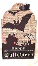 "Bat Haunted House Grave Yard Halloween Wood Plaque Retro 6""x9"" Tombstone Shape"