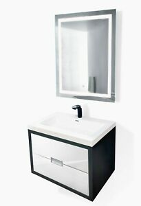 "Modern 24""-60"" Bathroom  Black/White Vanity +LED Mirror+sink+faucet"
