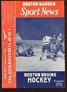 March 3 1956 NHL Program New York Rangers at Boston Bruins EX