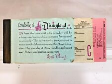 Disneyland Adult Ticket Book June 1962 15 Ticket Book