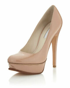 VERA WANG LAVENDER Zoey Patent Leather NUDE Latte Platform Stiletto Pump Heels 8