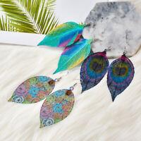 Boho Bohemian Women Lady Leaf Earrings Silver Ear Hook Drop Dangle Jewelry Gift