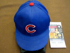 HARRY CAREY HOLY COW RON SANTO CHICAGO CUBS HOF SIGNED AUTO CUBS CAP HAT JSA