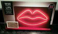 Red Hot Lips Wood Neon Sign LED Light Wall Mount Desk Top Cafe Coffee Shop Bar