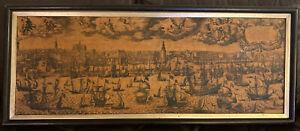 Vintage Petr Scriverius Dutch Harbor Netherlands Maritime Etching Reneir Nooms