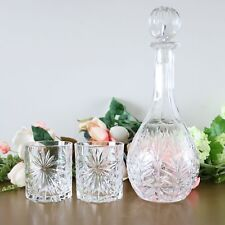 Vintage Crystal Whiskey Decanter With Glasses Set, Whiskey Rocks Glasses Set