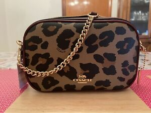 Coach Isla Chain Crossbody Bag IMNAT/NATURAL Leopard Print Isla F39587 NEW