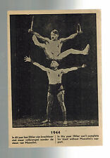 1944 Mint Holland Anti Fascist Propaganda postcard WW2 Hitler Mussolini Acrobats