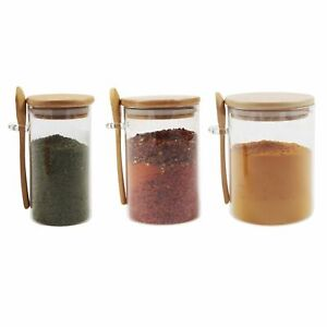 Small Glass Canister Sugar with Bamboo Lid & Spoon, Airtight Sealing, Spice Jars