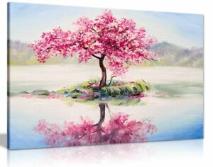 Japanese Oriental Cherry Tree on Lake Painting Canvas Wall Art Picture Print