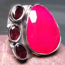 925 silver cut pink onyx & cut garnet ring UK N/US 6.75