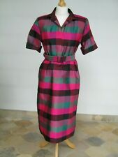 LadiesThai Silk Woven Check Shirtwaist Dress with Short Sleeves and Belt. Size M