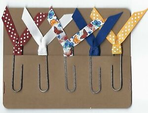 Set of 5 Handmade Decorative Paper Clip Book Marks - BUTTERFLY Polka Dot