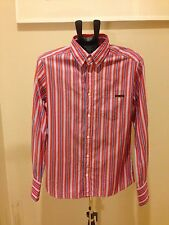 Authentic DOLCE & GABBANA D&G RED WITH BLUE STRIPED DRESS SHIRT SLIM Size L