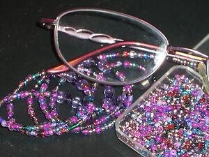 "Eyeglass Chain~Purple Magenta Mix~28""~handmade w/Crystals~NEW~BUY 3 SHIP FREE"