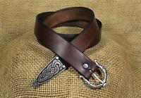 Mittelalter Gürtel Leder braun 170cm lang Handarbeit Wikinger Langgürtel Drachen