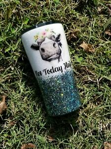 "BRAND NEW Glitter Dipped Tumbler, ""Not Today Heifer"" with name. READ DESCRIPTION"
