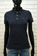 TOMMY HILFIGER Classic Polo Maglia Blu Donna Taglia S Manica Corta Shirt Women's