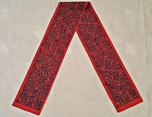 SCARF VINTAGE AUTHENTIC PAISLEY ART RED BLUE SILK BLEND DOUBLE SKINNY LONG MEN'S