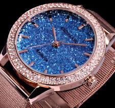 Excellanc Uhr Damenuhr Hellblau Rosegold Farben Mesh Armband Glitzer HB3