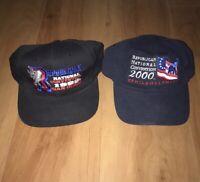 Lot Of 2 Vintage 90s Republican National Convention Political Trump Caps Hats