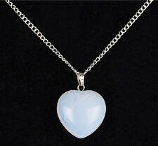 Valentine's Day Gift Opal Opalite Heart With Plated Silver Necklace 18 Inch