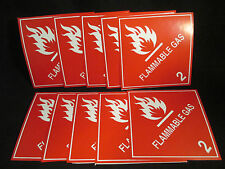 "10 Labels FLAMMABLE GAS 2 Red/White 4"" x 4"" Self Adhesive Paper Sticker NEW"