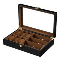 Wooden 9 Grid Wrist Watch Sunglasses Storage Box Jewelry Holder Display Case