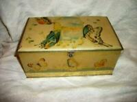 1920s TIN SEWING BOX LITHOGRAPH BUTTERFLIES SWANS ARTSTYLE CHOCOLATE