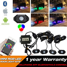 4 x RGB LED Rock Light Kits Off-road Lamp Truck Car ATV SUV Vehicle Boat Pods,US