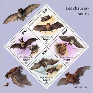 Niger 2021 MNH Wild Animals Stamps Bats Bat Flying Mammals 4v M/S