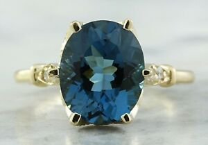 3.49 Carat Natural Topaz 14K Solid Yellow Gold Luxury Diamond Ring